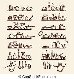 skicc, polc, -e, felszerelés, tervezés, rajz, konyha
