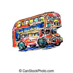 skicc, szórakozottan firkálgat, jelkép, -, vízfestmény, london, autóbusz, festmény, piros