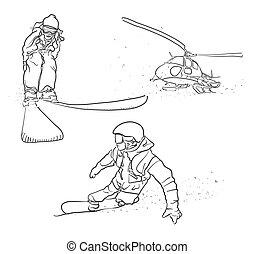 skicc, szórakozottan firkálgat, snowboarding, síelés, helikopter