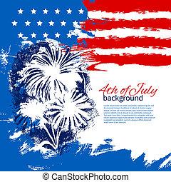 skicc, szüret, kéz, amerikai, 4, tervezés, háttér, flag., húzott, július, nap, szabadság