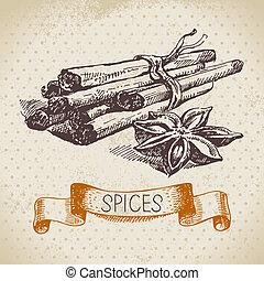 skicc, szüret, kéz, füvek, fahéj, háttér, húzott, spices., konyha
