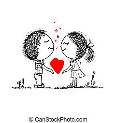 skicc, szeret, párosít, kedves, tervezés, együtt, -e