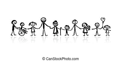 skicc, tervezés, -e, család, együtt