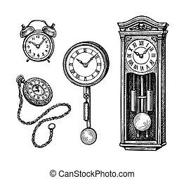 skicc, tinta, clocks, állhatatos, szüret