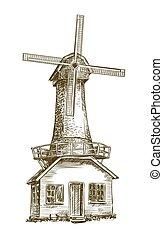 skicc, vektor, öreg, fehér, windmill.
