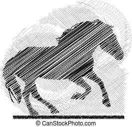skicc, vektor, horses., elvont