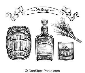 skicc, whiskey., tinta, állhatatos