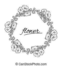skicc, wreath., vektor, fekete tinta, virágos, fehér