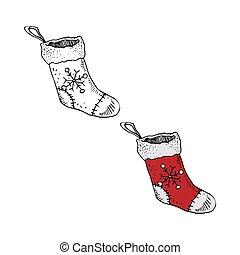 skicc, zokni, mód, áttekintés, karácsony, szín, ábra, vektor