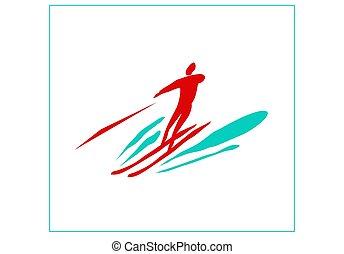 skiing., water., sport, nagy sebességű, víz, pihenés