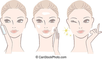 skincare, fordít, nő, arcvíz