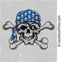 skull., kéz, vektor, eps8, drawn., kalóz