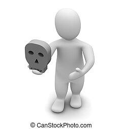 skull., viszonoz, illustration., hamlet., ember, 3