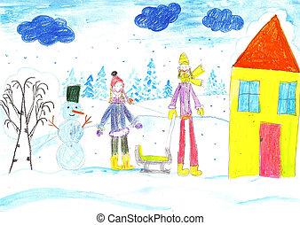 sledding., csinál, gyerekek, snowman., játék, síelés, rajz, kid.