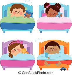sleeping., vektor, ábra, gyerekek