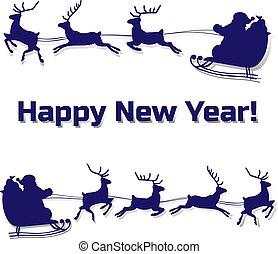 sleigh, fehér, árnykép, karácsony, őz, háttér, karikatúra, gördülni, klaus, szent