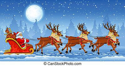 sleigh, lovaglás, klaus, karácsony, szent
