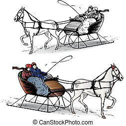 sleigh, tél, háttér, lovaglás, ló, karikatúra, fehér, párosít