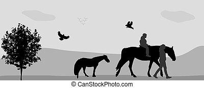 slicc, illustration., képben látható, emberek, nature., jár, vektor, connie, madarak