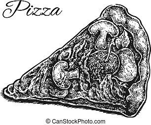 slice., pizza, fekete, kéz, húzott, fehér
