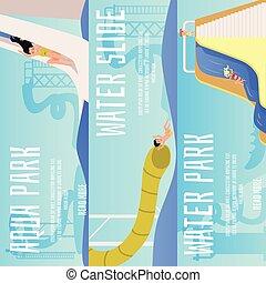 slide., víz, állhatatos, csúszó, karikatúra, gyerekek, lefelé, aqua dísztér, transzparens