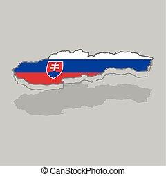 slovakia lobogó, elszigetelt, 3, térkép
