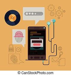 smartphone, búza, biztos, mozgatható, app, szín, zene, háttér, ujjlenyomat, biztonság, fülhallgató