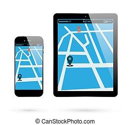 smartphone, elhelyezés, tabletta