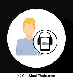 smartphone, fejhallgató, zene, szőke, online, pasas
