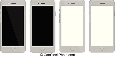 smartphone, furfangos, tiszta, telefon, vektor, ábra, display., variations., négy, blank.