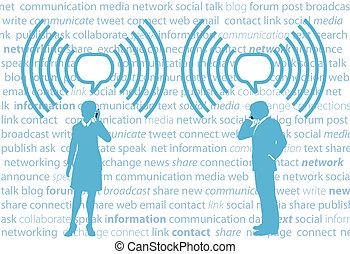 smartphone, hálózat, ügy emberek, wifi, g4, társadalmi