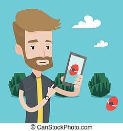 smartphone, játék, csípőre szabott, akció, szakáll, játék, ember