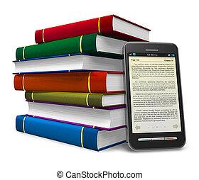 smartphone, könyv, elektronikus