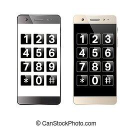 smartphone, keypad, digitális