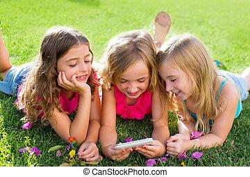 smartphone, lány, játék, internet, gyerekek, barát