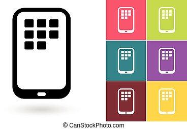 smartphone, mozgatható, jelkép, vektor, vagy, ikon