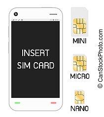 smartphone, sim, kártya