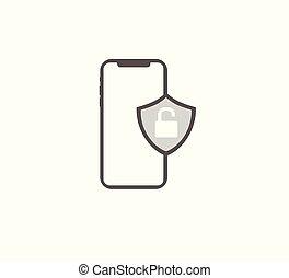 smartphone, zár, vektor, biztonság, nyílik, ikon