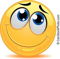 smiley, félénk, érzés, emoticon