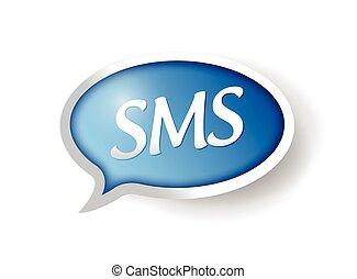 sms üzenet, buborék, ábra, tervezés