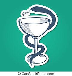 snake., orvosi, embléma, talpas pohár