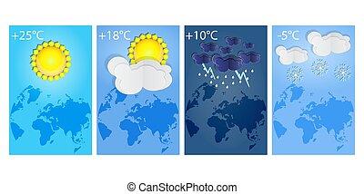 snow., írógépen ír, időjárás, forecast., eső, állhatatos, éjszaka, függőleges, különböző, tél, napos, égiháború, nap, plakátok