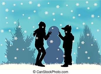 snow., gyermekek játék
