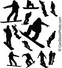 snowboarder, ember, állhatatos, árnykép