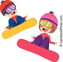 snowboarding, repülés, gyerekek