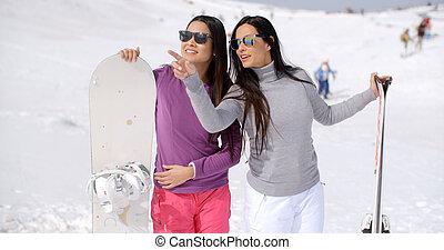 snowboards, -eik, nők, két, elegáns