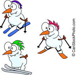 snowmen, síelés