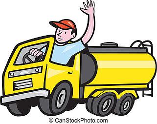 sofőr, csereüzlet, hullámzás, karikatúra, tartálykocsi