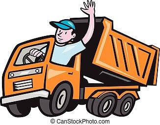 sofőr, csereüzlet, lerak, hullámzás, karikatúra