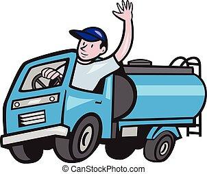 sofőr, hullámzás, csereüzlet, csecsemő, tartálykocsi, karikatúra